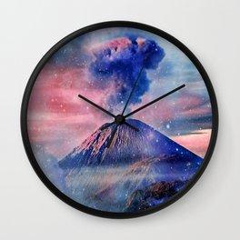 Active volcano Wall Clock
