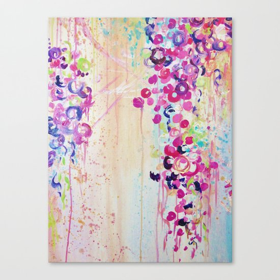 DANCE OF THE SAKURA - Lovely Floral Abstract Japanese Cherry Blossoms Painting, Feminine Peach Blue  Canvas Print