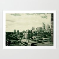 minneapolis Art Prints featuring Minneapolis by Adiel Louv