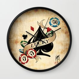 Spade and Poker Chips Wall Clock