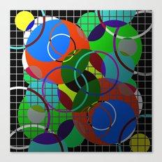 Caged Geometry - Abstract, metallic, geometric, rainbow coloured circles Canvas Print