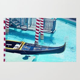 Classic Gondola boat and blue water Rug