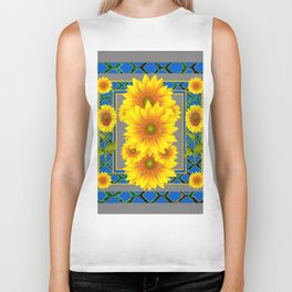 DECORATIVE BLUE-GREY SUNFLOWERS ART Biker Tank