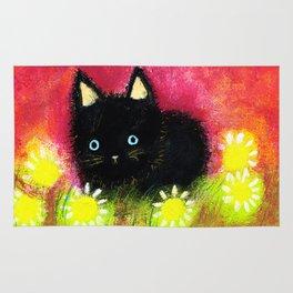 Black kitten Rug