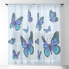 Butterfly Blues | Blue Morpho Butterflies Collage Sheer Curtain