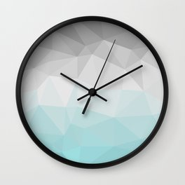 light blue and grey polygon Wall Clock
