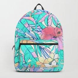 Pretty Pastel Hawaiian Hibiscus Print Backpack