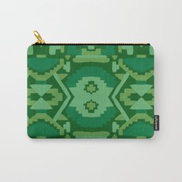 Geometric Aztec in Forest Green Carry-All Pouch