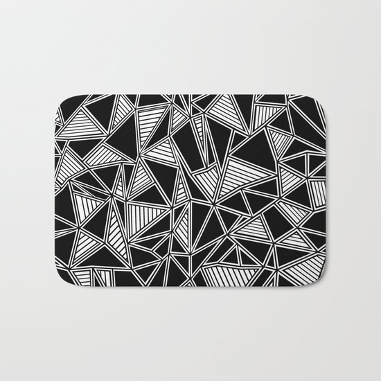 Abstract Outline Lines Black Bath Mat
