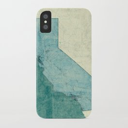 California State Map Blue Vintage iPhone Case
