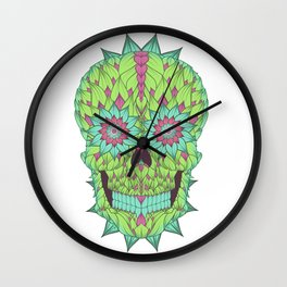 Skull with a floral style Wall Clock