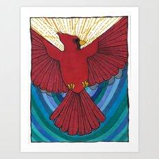 Joyful Cardinal Art Print