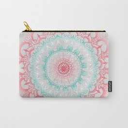 Teal & Coral Glow Medallion Carry-All Pouch