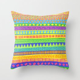 Happy colors inka pattern Throw Pillow