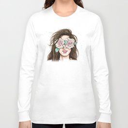 white roses in their eyes (female version) Long Sleeve T-shirt