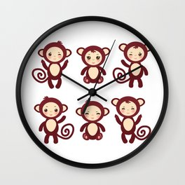 Set of funny brown monkey boys and girls on white background. Vector illustration Wall Clock