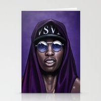swag Stationery Cards featuring Purple Swag by Andrea Mangiri
