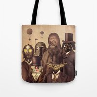hats Tote Bags featuring Victorian Wars  by Terry Fan