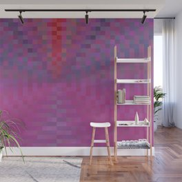 geometric square pixel pattern abstract background in pink and blue Wall Mural