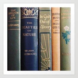 Beautiful vintage nature bookstack Art Print