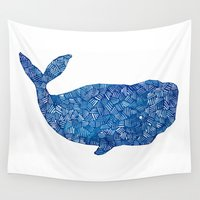 the whale Wall Tapestries featuring Whale by Bridget Davidson