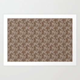 Abstract Geometrical Triangle Patterns 2 Benjamin Moore 2019 Trending Color Kona Chocolate Brown AF- Art Print