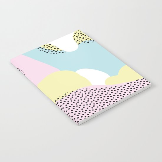 Candy Pink Blue Blobs & Dots Pattern Notebook