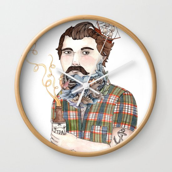 Flock of Beards Wall Clock