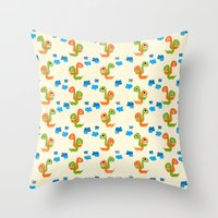 dino Throw Pillows featuring Dino by Elettra