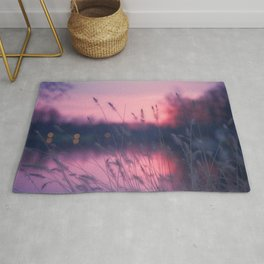 Beautiful Reed At Lakeside At Romantic Sunset Purple Shade Ultra HD Rug