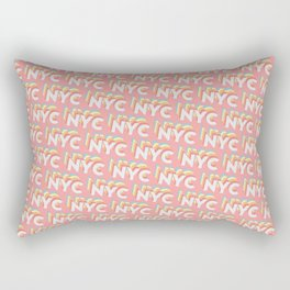 NYC, New York, USA Trendy Rainbow Text Pattern (Pink) Rectangular Pillow