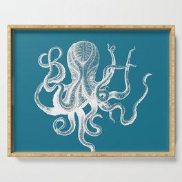 Vintage Octopus teal blue Serving Tray