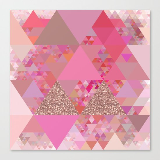 Triangles in glittering pink- glitter triangle pattern Canvas Print