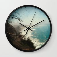 big sur Wall Clocks featuring Big Sur - Jagged Edge by Jenndalyn