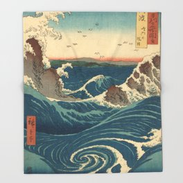 Vintage poster - Japanese Wave Throw Blanket