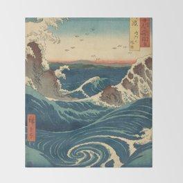 Vintage poster - Japanese Wave Throw Blanket