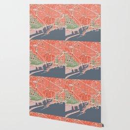 Barcelona city map classic Wallpaper