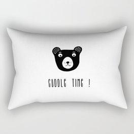 Cuddle time bear black and white illustration Rectangular Pillow