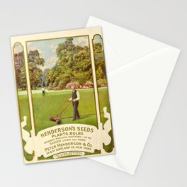 garden 051 Gardener with lawn mower  Grass  Trees3 Stationery Cards
