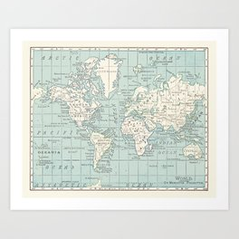 World Map in Blue and Cream Kunstdrucke