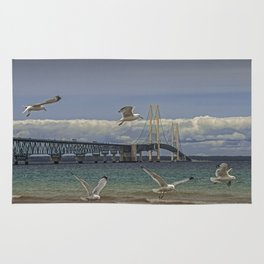 Flock of Gulls Flying by the Bridge at the Straits of Mackinac Rug