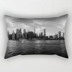 New York Skyline - Black & White Rectangular Pillow