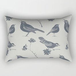 Birds and Daisies, drawing in blue and grey Rectangular Pillow