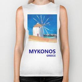 Mykonos Greece Windmill, Sea and Little Venice Travel Retro Poster Biker Tank