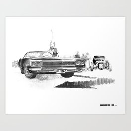 1968 Muscle Car Front End Sketch Art Print