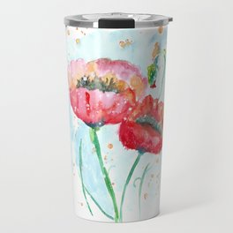 Poppy flowers no 4 Summer illustration watercolor painting Travel Mug