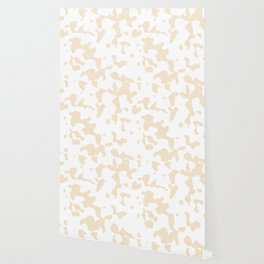 Large Spots - White and Champagne Orange Wallpaper