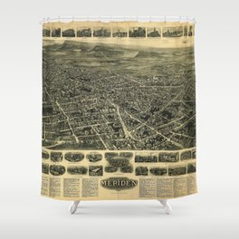 Aerial View of Meriden, Connecticut (1918) Shower Curtain