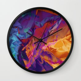 Dragon's Back. Dynamic, Blue, Purple and Orange Abstract. Wall Clock