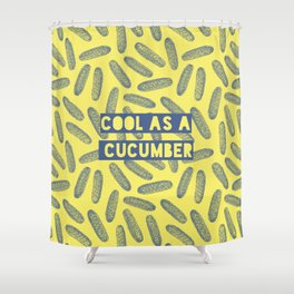 Cool as a cucumber! Seamless pattern design with green cucumbers Shower Curtain